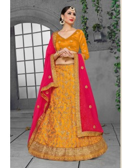 Ethnic Wear Yellow Net Lehenga Choli - 18426