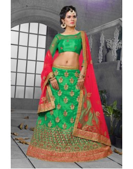 Green Colour Net Embroidery Lehenga Choli - 18429