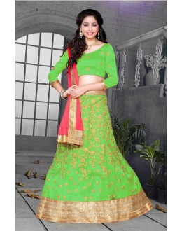 Ethnic Wear Parrot Green Net Lehenga Choli - 18431