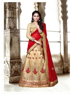 Wedding Wear Beige Net Lehenga Choli - 18432