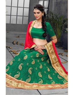 Ethnic Wear Green 60 Gm Georgette Lehenga Choli - 18435