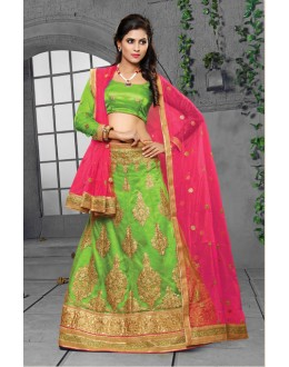 Parrot Green Colour Net Lehenga Choli - 18437