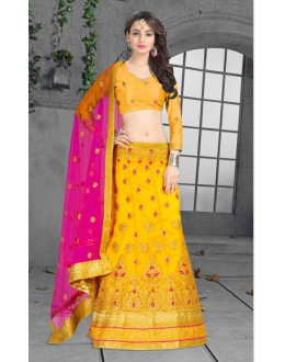 Ethnic Wear Yellow Net Lehenga Choli - 18440