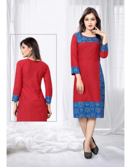 Office Wear Readymade Red Slub Cotton Kurti - 18444