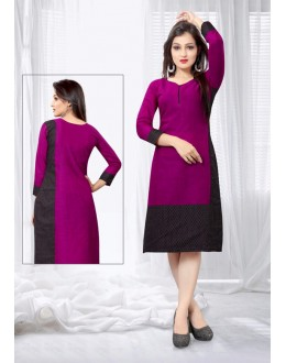 Ethnic Wear Readymade Purple Slub Cotton Kurti - 18445