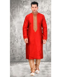 Readymade Red Silk Kurta & Pajama - 18450