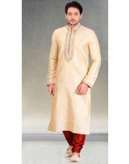 Festival Wear Readymade Cream Silk Kurta & Pajama - 18454