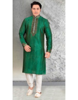 Readymade Green Silk Kurta & Pajama - 18455