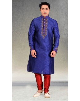 Readymade Blue Silk Kurta & Pajama - 18456