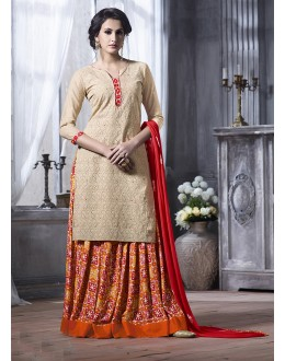 Ethnic Wear Off Cream Cotton Lehenga Suit  - 18464