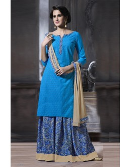 Cotton Light Blue Colour Lehenga Suit  - 18469