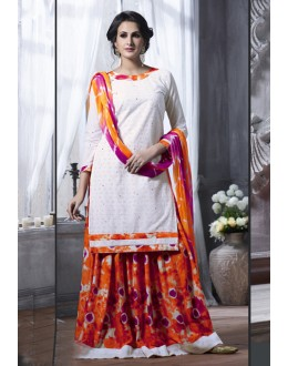 Ethnic Wear White Cotton Lehenga Suit  - 18470