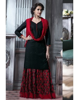 Festival Wear Black Cotton Lehenga Suit  - 18471