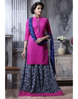 Ethnic Wear Pink Cotton Lehenga Suit  - 18473
