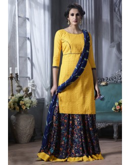 Ethnic Wear Yellow Cotton Lehenga Suit  - 18475