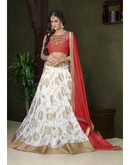 Traditional White Premium Silk Lehenga Choli - 18478