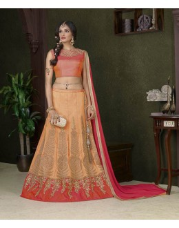 Designer Light Orange C*N Silk Lehenga Choli - 18481