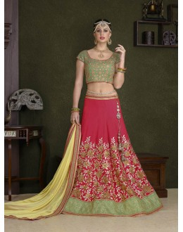 Festival Wear Red C*N Silk Lehenga Choli - 18482