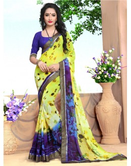 Ethnic Wear Yellow Georgette Saree  - 18484