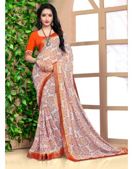 Festival Wear Multi-Colour Georgette Saree  - 18485