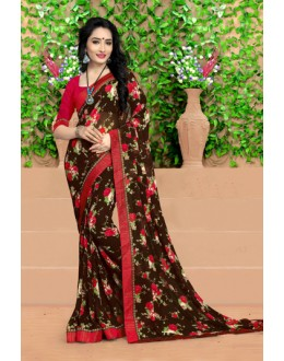 Ethnic Wear Brown Georgette Saree  - 18486