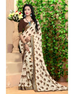Casual Wear Off White Georgette Saree  - 18487