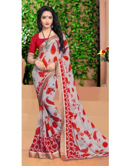 Party Wear Multi-Colour Georgette Saree  - 18488
