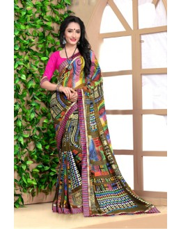 Casual Wear Multi-Colour Georgette Saree  - 18489