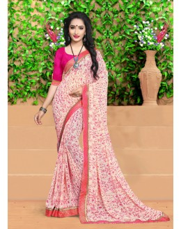 Ethnic Wear Light Pink Georgette Saree  - 18492