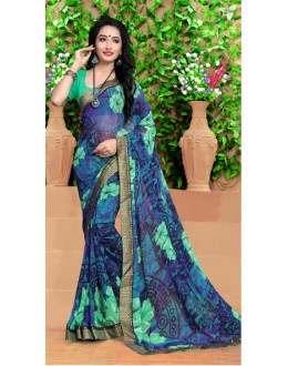 Festival Wear Multi-Colour Georgette Saree  - 18493