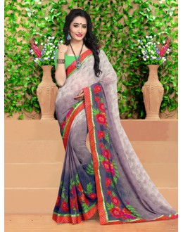 Party Wear Multi-Colour Georgette Saree  - 18494