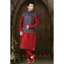 Party Wear Readymade Multi-Colour Waistcoat For Men - 18503