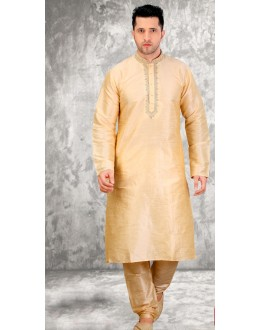 Party Wear Readymade Gold Silk Kurta & Pajama - 18506