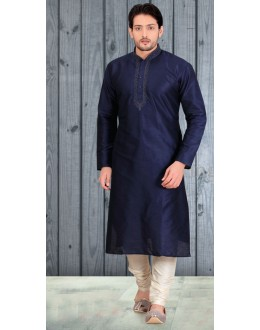 Readymade Navy Blue Silk Kurta & Pajama - 18508