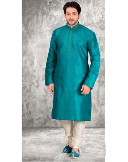 Casual Wear Readymade Green Silk Kurta & Pajama - 18512