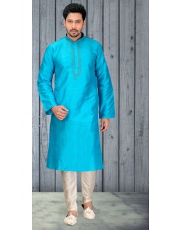 Ethnic Wear Readymade Sky Blue Silk Kurta & Pajama - 18513