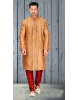 Traditional Readymade Golden Silk Kurta & Pajama - 18515