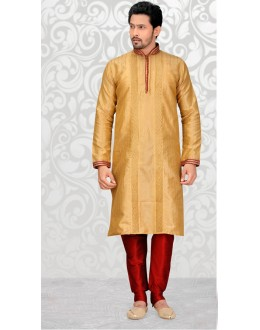 Festival Wear Readymade Golden Silk Kurta & Pajama - 18516