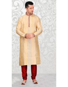 Traditional Readymade Cream Silk Kurta & Pajama - 18517
