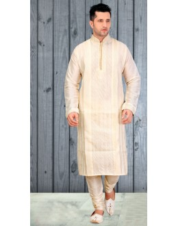 Ethnic Wear Readymade Cream Silk Kurta & Pajama - 18518
