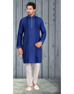 Readymade Blue Silk Kurta & Pajama - 18519
