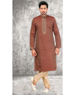 Wedding Wear Readymade Brown Kurta & Pajama - 18521