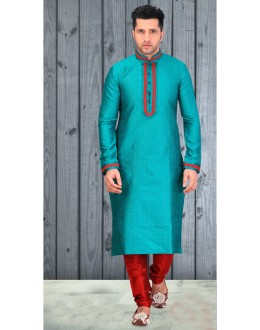 Readymade Green Silk Kurta & Pajama - 18526