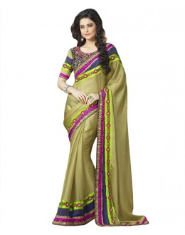 Wedding Wear Light Green Georgette Saree  - 18531