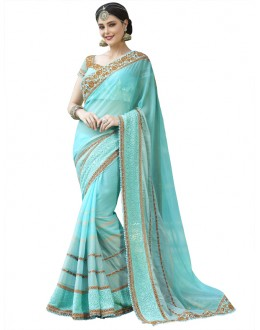 Party Wear Sky Blue Georgette Saree  - 18534