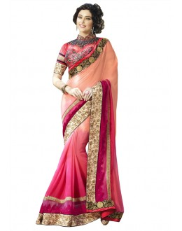 Multi-Colour Georgette Embroidery Saree  - 18535