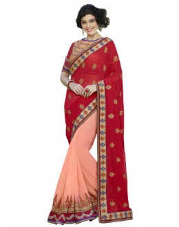 Red & Pink Georgette Half & Half Saree  - 18538
