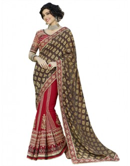 Multi-Colour Georgette Half & Half Saree  - 18539