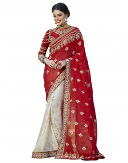 Multi-Colour Georgette Half & Half Saree  - 18541