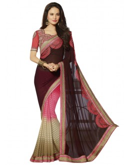 Ethnic Wear Multi-Colour Georgette Saree  - 18542